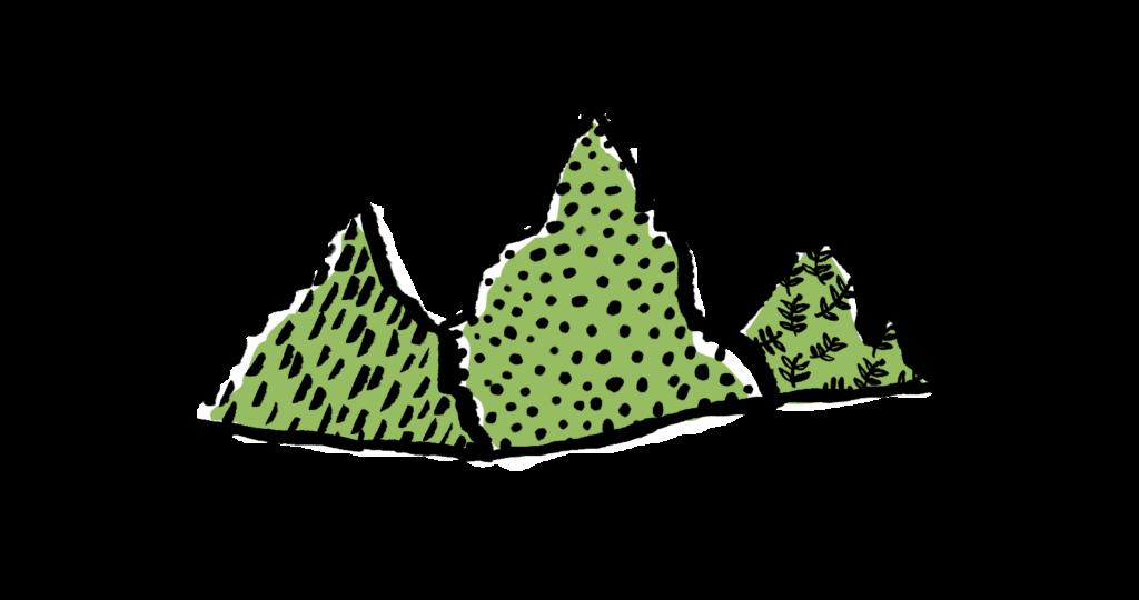 Logo von Edda Grünberger, eine Illustration von drei gemusterten Bergen.